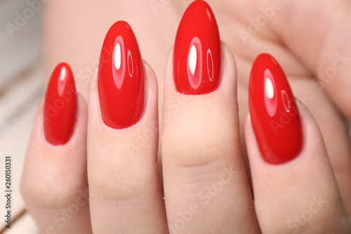 Cuadros en Lienzo beautiful gel lacquer manicure on a textured trendy background