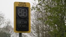 Speed Indicator Display Activated By Vehicles Passing And Flashing Your Speed Slow Down