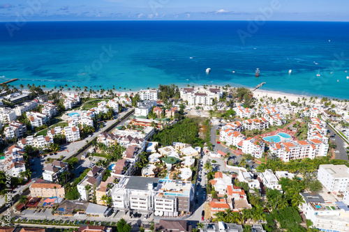 Aerial view with caribbean city on the beach Fototapeta