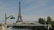 Iconic street lamps and Pont Rouelle bridge along the Seine and Eiffel Tower