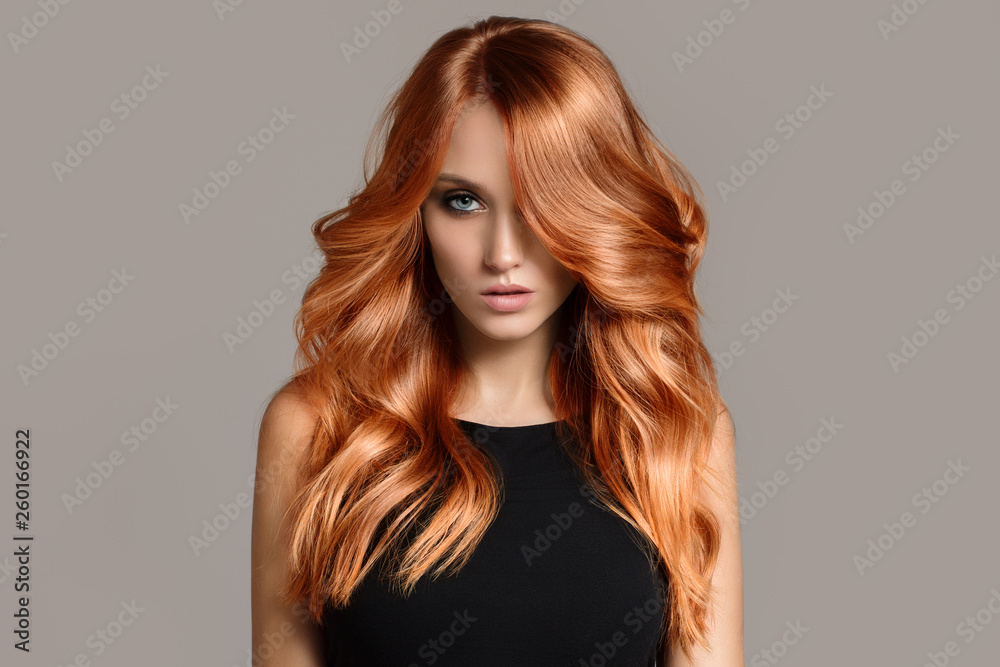 Fotografie, Obraz Beautiful woman with long wavy coloring hair