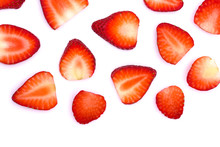 Plate Of Sliced Strawberries Isolated On White Background. Strawberry Berry On A White Background. Neatly Arranged Slices Of Red Strawberry On A White Background.