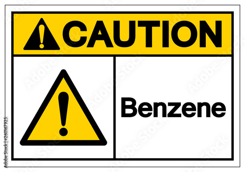 Caution Benzene Symbol Sign, Vector Illustration, Isolate On White Background Label Canvas Print