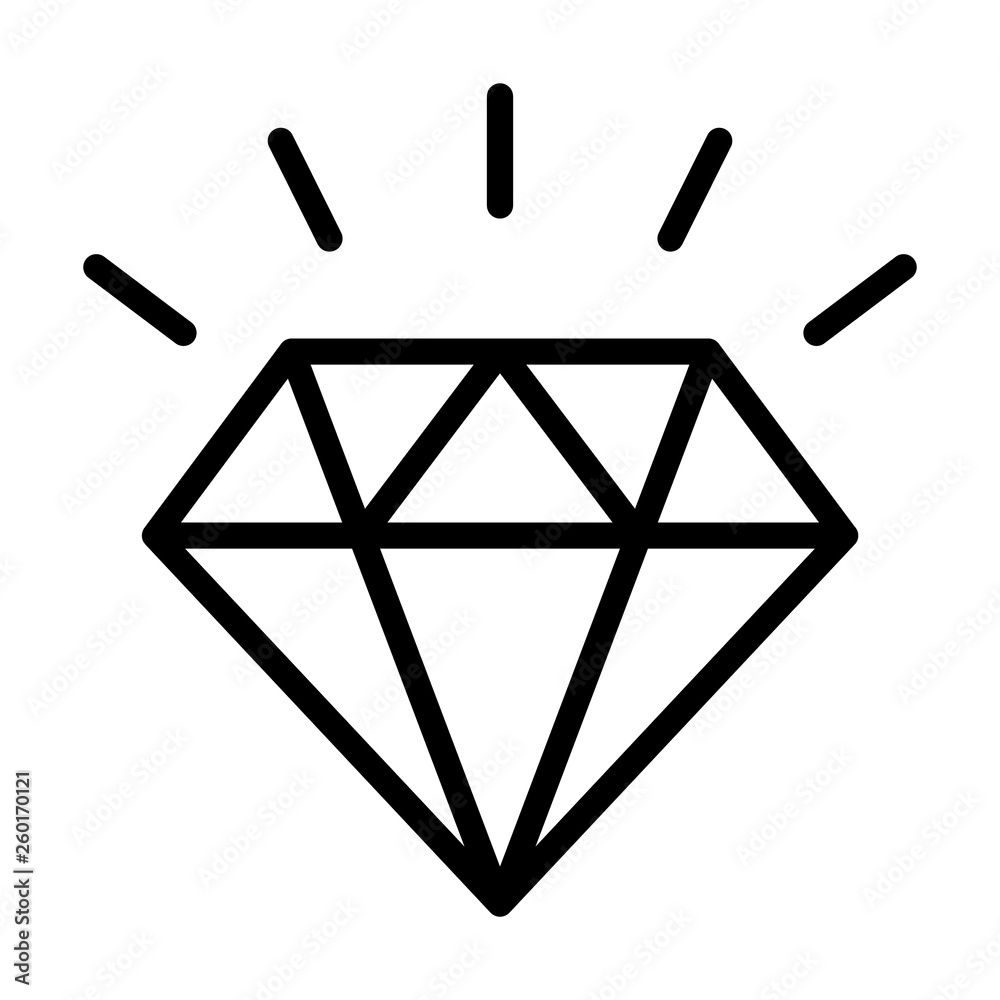 Fototapeta Diamond gemstone with sparkle line art vector icon for jewelry apps and websites