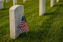 American Flag By A Grave Marke...