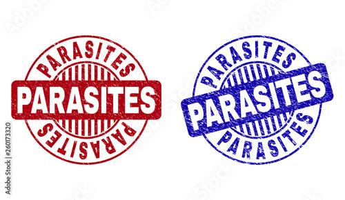 Fototapeta  Grunge PARASITES round stamp seals isolated on a white background