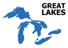 Vector Flat Map Of Great Lakes With Name