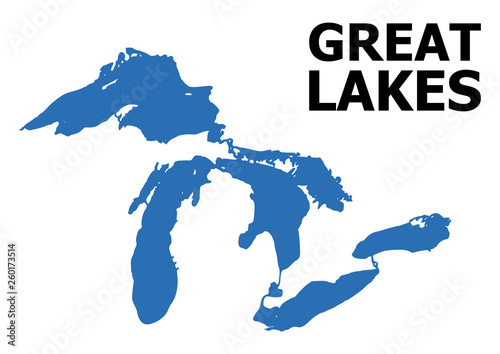 Fotografie, Tablou  Vector Flat Map of Great Lakes with Name