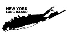 Vector Flat Map Of Long Island With Caption