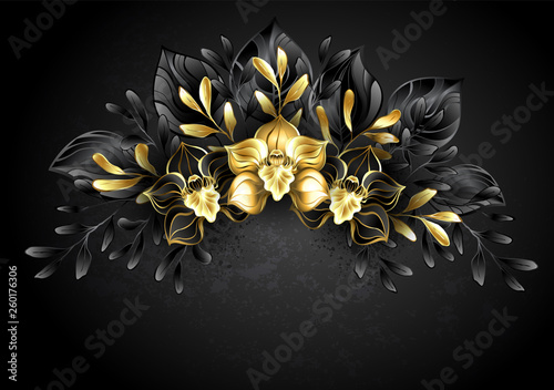 Fotografering  Wreath black orchids
