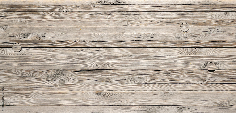 Fototapety, obrazy: Horizontal wood textured background. Wooden planks on a wall or floor with grain and texture.