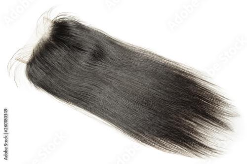 Fototapeta straight black human hair weaves extensions lace closure