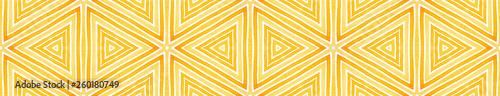 Photo Orange Seamless Border Scroll. Geometric Watercolo