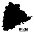 Vector Flat Map of Telangana State with Caption
