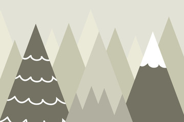 Graphic illustration for kids room wallpaper with mountain background. Can use for print on the wall, pillows, decoration kids interior, baby wear, textile, and card