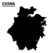 Vector Flat Map of Zhejiang Province with Caption