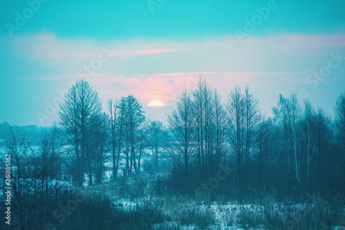 Photo Stands Turquoise Winter rural landscape at sunset. Winter snowy scenery. The field covered with snow at sunset