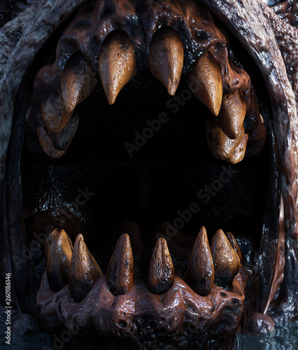 Canvastavla Close up Teeth of monster creature,3d rendering