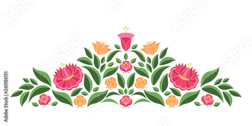 In de dag Boho Stijl Hungarian folk pattern vector border. Kalocsa embroidery floral ethnic ornament. Slavic eastern european print isolated. Vintage traditional flower design for wedding invitation, woman cloth.