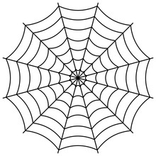 Round Spider Web, Cobweb Vector Symbol Sign Of Confusion And A Network Of Trap