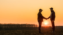 Two Farmers On The Field Shake Hands At Sunset