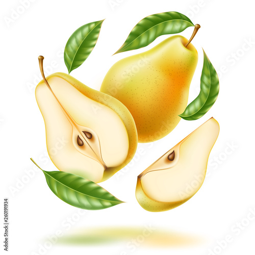 Fényképezés Vector realistic fresh pear with leaf green fruit