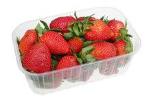 Big Strawberry Berries In An Industrial Plastic Box Isolated Macro