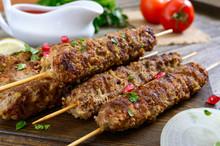 Delicious Lula Kebab On A Wood...