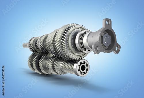 Fotografia, Obraz  Automotive transmission gearbox Gears inside on blue gradient background 3d rend