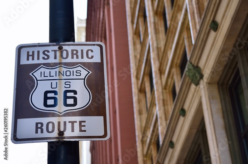 Poster Route 66 Historic Illinois Route 66 brown sign