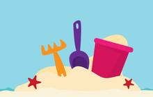 Beach Toys. Flat Vector
