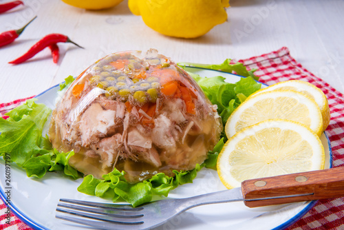 tasty aspic  with pork knuckle and pork legs Canvas Print