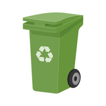 Green Waste Bin For Separate Garbage Collection. Recycling Garbage Container. Flat Vector Illustration