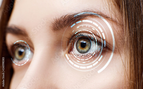 Photographie Digital female eye in process of scanning.