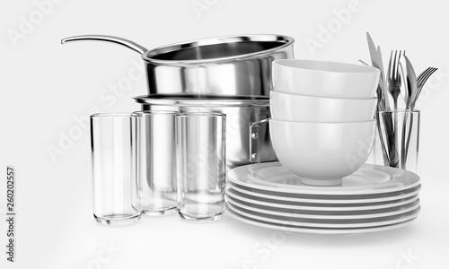 Fotografie, Obraz  Clean Dishware Stack
