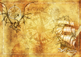 Marine blank banner with copy space, fantasy dragon, old sailboat on texture background