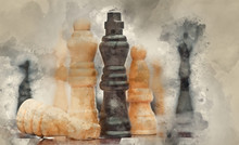 Watercolour Painting Of Chess Game Of Strategy Business Concept Application