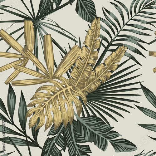 Tropical palm banana leaves seamless pattern Wall mural
