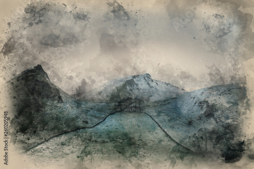 Foto auf Leinwand Khaki Watercolour painting of Stunning Winter landscape image of Chrome Hill and Parkhouse Hill in Peak District England
