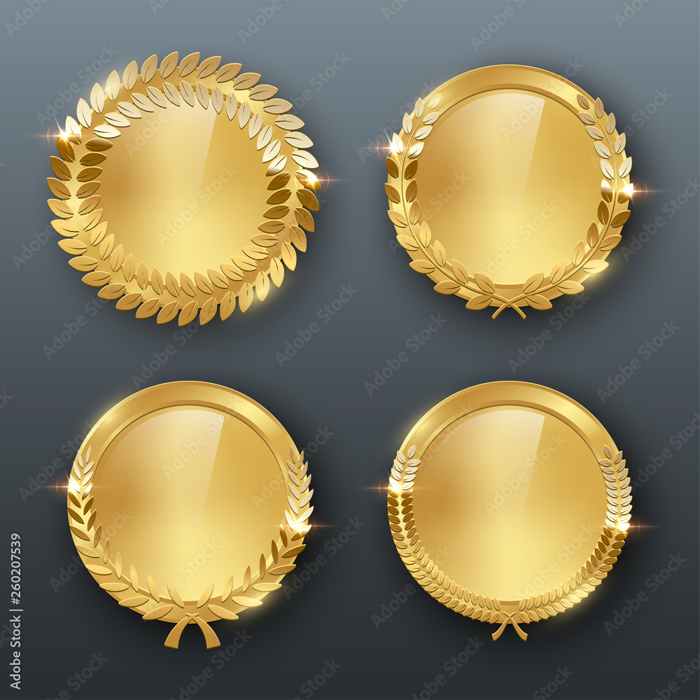Fototapeta Award golden blank medals 3d realistic vector color illustration on gray background
