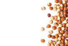 White Background With Hazelnuts Without Shell