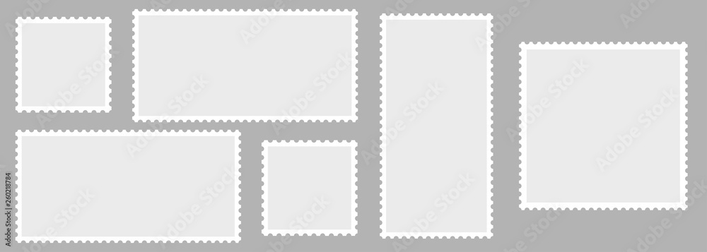 Fototapety, obrazy: Light Postage Stamps collection. Blank Postage Stamps on gray background. Postage Stamps in flat design