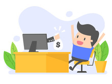 Online Income. Man Gets Money From Online Business.