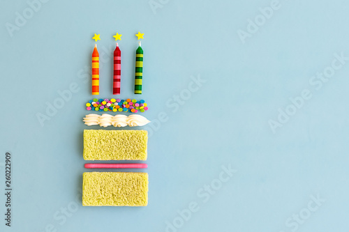 Canvas Print Birthday cake, top view