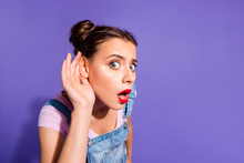 Close Up Photo Beautiful Funny Funky She Her Lady Two Buns Hear Rumours Like News Red Lipstick Pomade Hand Arm Wear Casual T-shirt Jeans Denim Overalls Clothes Isolated Purple Violet Background
