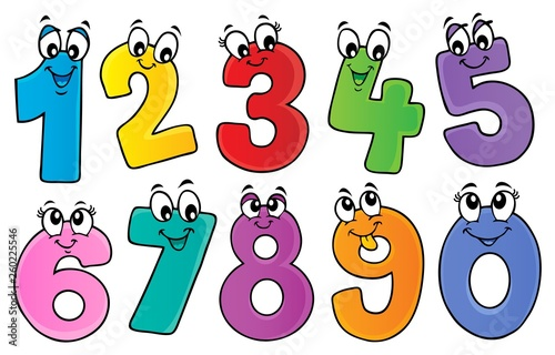 Montage in der Fensternische Für Kinder Cartoon numbers theme set 1