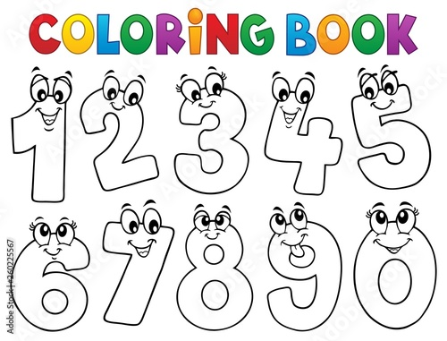 Aluminium Prints For Kids Coloring book cartoon numbers set 1