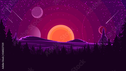 Obraz Landscape with sunset behind the mountains, forest and starry sky in purple tones. Vector illustration. - fototapety do salonu