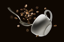 Coffee Beans Spoon And Cup In ...