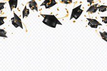 Graduation Caps Confetti. Flyi...